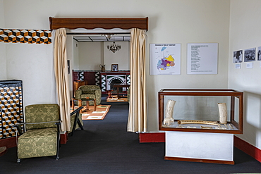 Interior view of a room in the Royal Palace Museum of King Mutara III Rudahigwa 1931, Nyanza, Southern Province, Rwanda, Africa