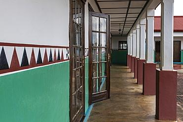 Painted exterior wall at the Royal Palace Museum of King Mutara III Rudahigwa 1931, Nyanza, Southern Province, Rwanda, Africa