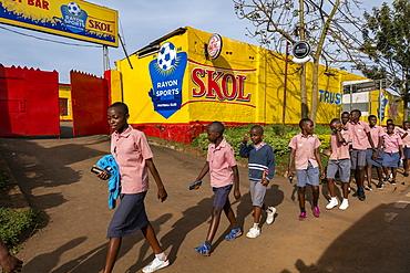 School children on their way to school, Gisuma, Western Province, Rwanda, Africa