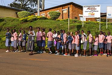 School children queuing up on their way to school, Gisuma, Western Province, Rwanda, Africa