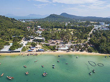 Aerial view of longtail fishing boats on Ganh Dau Beach, Ganh Dau, Phu Quoc Island, Kien Giang, Vietnam, Asia