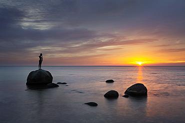 Sculpture on the beach, Sellin, Ruegen, Baltic Sea, Mecklenburg-Western Pomerania, Germany