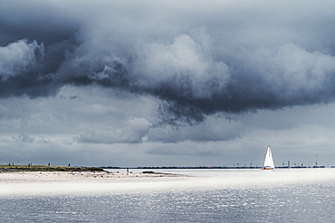 Storm clouds over the Wadden Sea National Park, Spiekeroog, East Frisia, Lower Saxony, Germany, Europe