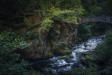 River Bode with Jungfernbrücke, Bodetal, Thale, Harz, Saxony-Anhalt, Germany, Europe