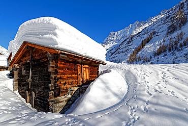 The huts of Vorsaas in the Loetschental, Valais, Switzerland.
