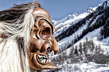 Tschäggättä mask, carnival custom in Lötschental, Valais, Switzerland.