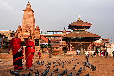 Completely restored after the earthquake: Durbar Square in Bhaktapur, Kathmandu Valley, Nepal, Asia.