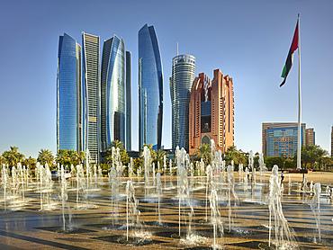 Etihad Towers, fountain, Abu Dhabi, United Arab Emirates