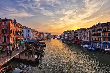 Grand Canal at sunset from the Rialto Bridge in Venice, Veneto, Italy