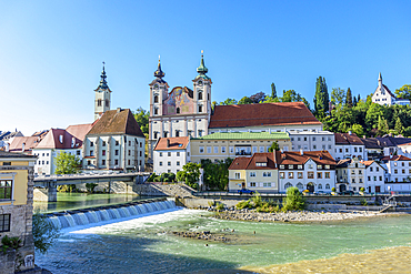 City of Steyr at the confluence of the Steyr and Enns, Upper Austria, Austria