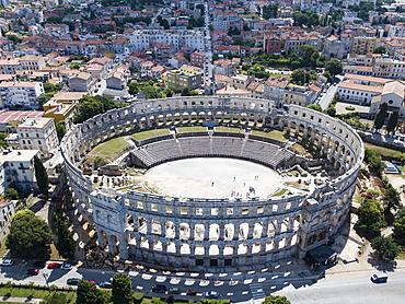 Aerial view from the Roman amphitheater Pula Arena, Pula, Istria, Croatia, Europe