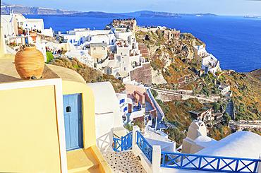 Oia village, elevated view, Oia, Santorini, Cyclades Islands, Greece