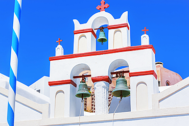 Orthodox church top, Oia, Santorini, Cyclades Islands, Greece