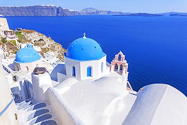 Deck chairs, Oia, Santorini, Cyclades Islands, Greek Islands, Greece
