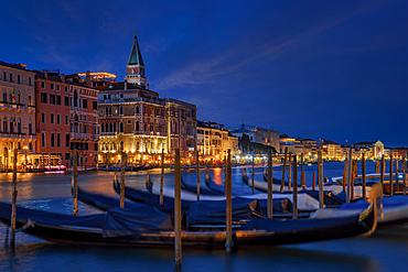 At night on the Grand Canal, Venice, Veneto, Italy, Europe