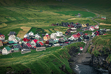 Village of Gjogv on Eysteroy with gorge, Faroe Islands