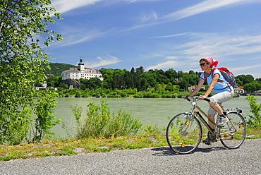 Female cyclist riding along Danube river, Persenbeug castle in background, Danube Cycle Route Passau to Vienna, Persenbeug, Lower Austria, Austria