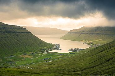Kollafjørður fjord on the island of Streymoy, Faroe Islands