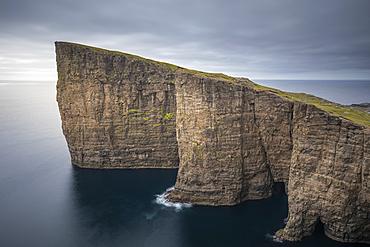 Cliffs at Trælanípa on Vagar Island, on Lake Leitisvatn, Faroe Islands