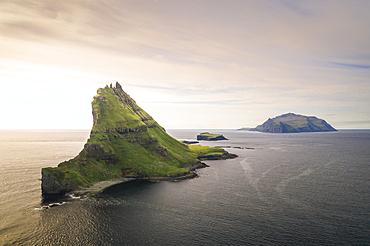 Tindholmur Island and Mykines at sunset, Faroe Islands