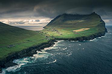 Viðareiði under the mountain Villingadalsfjall on the island of Vidoy, Faroe Islands