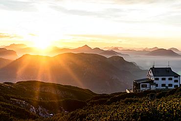 Sunset at the Stöhrhaus with a view over the Lattengebirge and the Chiemgau Alps, Untersberg, Berchtesgaden Alps, Bavaria, Germany