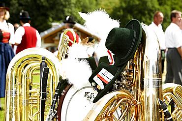 Bavarian brass music and Brautum, Siegsdorf, Chiemgau, Bavaria, Germany