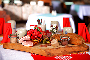 Bavarian snack and a fresh beer, Reit im Winkl, Chiemgau, Bavaria, Germany
