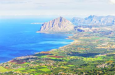 View from Erice of Monte Cofano and coastline, Erice, Sicily, Italy