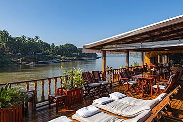 Deck chairs on board the river cruise ship Mekong Sun on the Mekong river, Luang Prabang, Luang Prabang Province, Laos, Asia