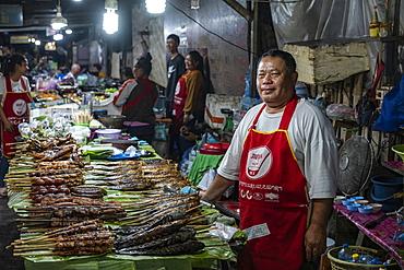 Man sells perfectly grilled fish skewers at the night market, Luang Prabang, Luang Prabang Province, Laos, Asia