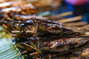 Grilled fish for sale at a stall at the night market, Luang Prabang, Luang Prabang Province, Laos, Asia