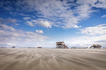 Stilt house on the beach of St. Peter-Ording, North Friesland, Schleswig-Holstein