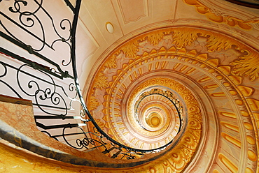 Corkscrew staircase, Melk Abbey, Wachau valley, Lower Austria, Austria