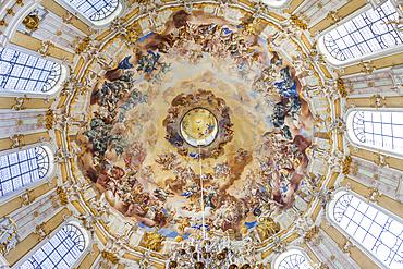 Dome fresco coronation of Benedict in the Benedictine Abbey Ettal, Upper Bavaria, Allgäu, Bavaria, Germany
