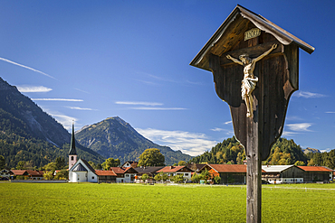 Wayside cross in Graswang near Ettal, Upper Bavaria, Allgäu, Bavaria, Germany