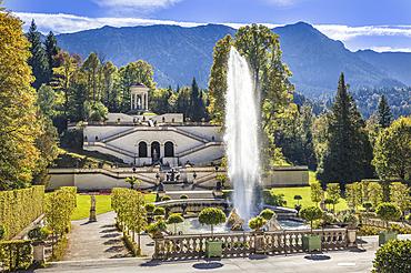 Fountain and terrace garden of Linderhof Palace, Ettal, Allgäu, Bavaria, Germany