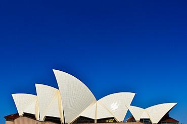 The Opera House glows in the sun against a deep blue sky, Sydney, New South Wales, Australia