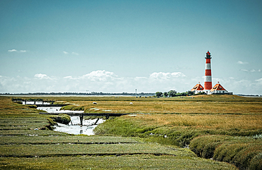 View of the Westerheversand lighthouse in St. Peter-Ording, Germany