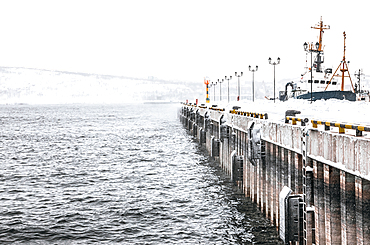 View of the port in Murmansk, Russia