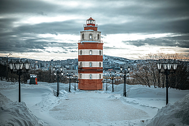 View of the lighthouse - memorial to the deceased sailors in Murmansk, Russia