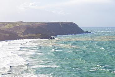 The bay of Baie d´Ecalgrain on the Cap de l´Hague in a storm, Cotentin peninsula, Normandy.