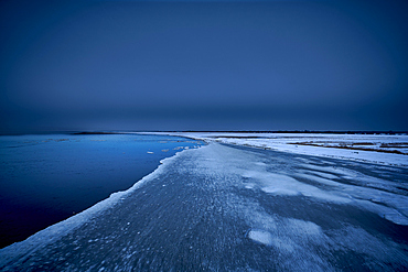 Winter sunset at the North Sea, Dorum, Lower Saxony, Germany