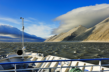 River cruise ship MS Michail Svetlov. River cruise on the Lena, Yakutia: ASIA, Russia, Sacha, Republic of Sakha, Yakutia,