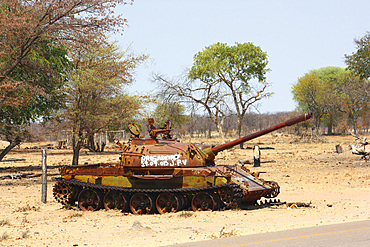 Angola; southern part of the province of Cunene; Roadside tanks; on the EN110 national road between Ondjiva and Xangongo; Relic from the Angolan Civil War