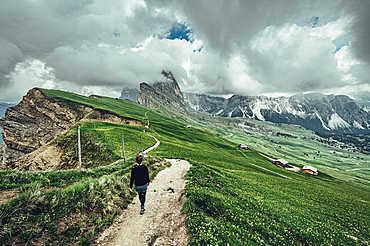 Hiker in the Dolomites, South Tyrol, Italy, Europe