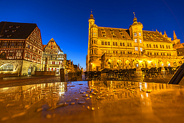 Market square of Rothenburg ob der Tauber with town hall at the blue hour, Middle Franconia, Bavaria, Germany