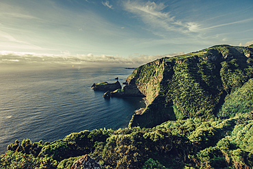Bay on the island of Flores, Azores, Portugal, Atlantic, Atlantic Ocean, Europe,