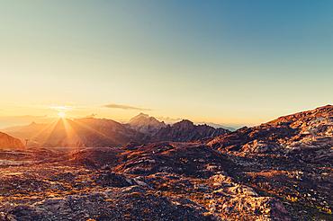 Sunrise in the mountains in Raetikon, Vorarlberg, Austria, Europe