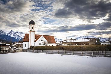 Church of St. Jakob in Wallgau, Upper Bavaria, Bavaria, Germany